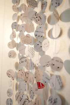 Music Note Paper Garland Home Decor Gift Wrap 5 by CThandmade, $15.00