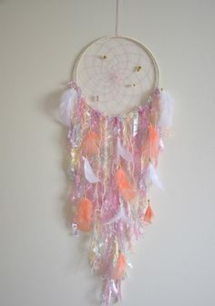 Large Dream Catcher Coral Pink by FeatherDreamcatchers on Etsy