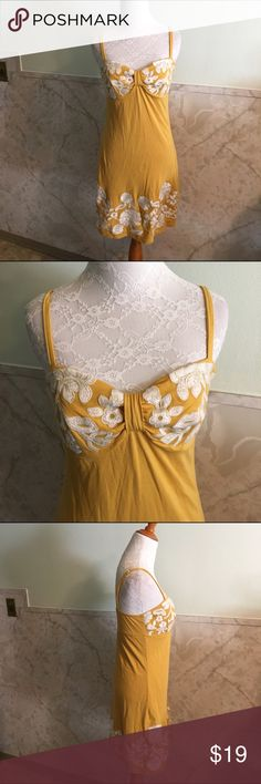 """INC Embroidered Flower Deep Yellow Dress This is a playful dress by INC in a size small. It's a deep yellow color and is decorated with embroidered white flowers. This is a stretchy and soft dress with adjustable straps. Length is 34"""". Material is Pima cotton and modal and lining is nylon. INC International Concepts Dresses Mini"""