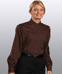 Banded Collar Shirts for Men or Women (womens medium 12-14, Espresso (shown)) Edwards Garment. $18.50