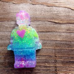 New to MorningstarCurio on Etsy: Rainbow glitter candy heart minifig robot tie tack pin geek button #1622 (8.00 USD)
