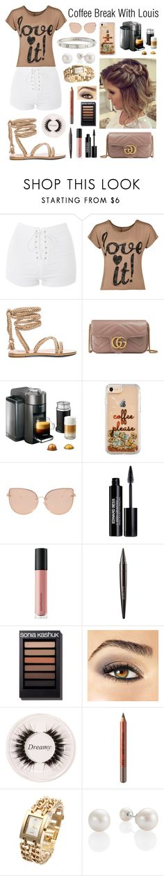"""""""Untitled #63"""" by hazzazgurl ❤ liked on Polyvore featuring Topshop, WearAll, Gucci, Nespresso, Edward Bess, Bare Escentuals, Laura Mercier, Avon, Certifeye and Cartier"""