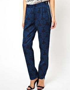 Image 4 of ASOS Pants in Textured Floral Print