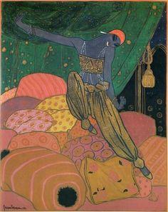 Nijinsky by Georges Lepape Les Ballet Russe Art Et Illustration, Illustrations, Léon Bakst, Art Nouveau, Empire Ottoman, Russian Ballet, Art For Art Sake, Arabian Nights, Art Graphique