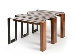 New York-based furniture designer Axel Yberg has created the Split furniture collection for his brand Akke Functional Art. The Split furniture collection i Steel Coffee Table, Coffee Table Legs, Unique Coffee Table, Coffee Table Design, Modern Coffee Tables, Steel Table, Wood Table, Design Furniture, Metal Furniture