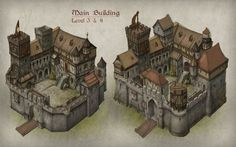 InnoGames releases information on the game's graphics and style. Fantasy City, Fantasy Castle, Fantasy House, Fantasy Places, Fantasy Map, Medieval Fantasy, Fantasy Artwork, Medieval Houses, Medieval Town