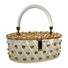 1950s Lucite Oval-Shaped Box Bag Studded w/ Topaz Rhinestones 1