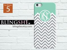 Personalized Cover iphone 5S case, iPhone 5C case monogrammed, iphone 5 case chevron,soft rubber case, tough iphone case- ip5-mono-401 on Etsy, $11.99