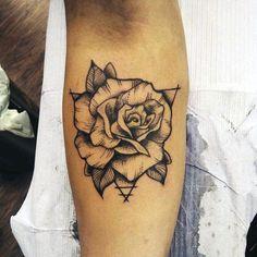 Mes Inner Forearm Geometric Rose Flower Tattoos
