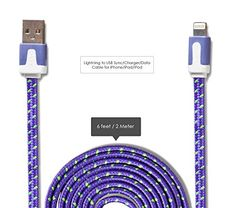 Lightning to USB Cable - Data Sync Charger Cord - 6ft Purple Flat Braided Stylish Wire - Durable - No Snap or Wiggle - For Apple Devices: iPhone 6, 6 Plus, 5, iPad, iPod. Swiss-QA http://www.amazon.com/dp/B00S4FIRVC/ref=cm_sw_r_pi_dp_cdDYvb0WNX1NF