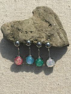 Opal Belly Button Ring Surgical Steel Belly Button Rings
