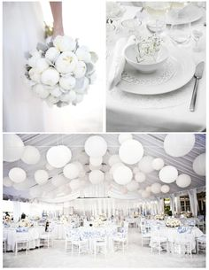 Go beyond a white bride with an all-white wedding. Mixing different shades and textures of white can make a dramatic statement.