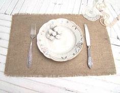 Burlap Wedding Table Setting Rustic Placemat Table by Tatianaday