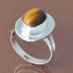 925 SOLID STERLING SILVER YELLOW TIGER EYE RING 3.41g DJR6786 #Handmade #Ring