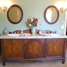 love repurposing an old buffet for our sinks in the master