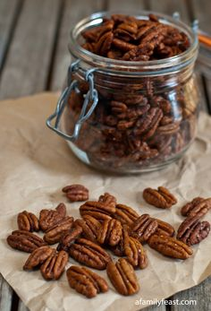 Spiced Pecans - so addictively delicious! Great on salads or as a snack. Make a double batch - they will get eaten very quickly!