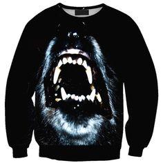 Chicnova Fashion Crew Neck Print Sweatshirt (100 HKD) ❤ liked on Polyvore featuring tops, hoodies, sweatshirts, black crewneck sweatshirt, crew neck tops, black sweatshirt, black sweat shirt und print sweatshirt