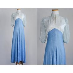 SALE / Vintage Blue Floral Evening Gown / by recyclinghistory, $35.00