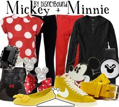 Mickey and Minnie outfits by Disney Bound Disney Themed Outfits, Disneyland Outfits, Disney Bound Outfits, Couple Outfits, Disneyland Honeymoon, Couple Clothes, Disneyland Paris, Mickey Mouse Outfit, Mickey Minnie Mouse