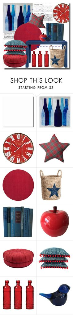 """Red & Blue"" by gabygrach ❤ liked on Polyvore featuring interior, interiors, interior design, home, home decor, interior decorating, Ink & Ivy, KAROLINA, Pillow Perfect and Bungalow 5"