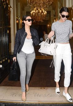 Jet-set chic: Kim Kardashian and her Kendall Jenner somehow managed to wake up in the early hours Thursday morning to make their way to the airport
