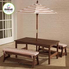 KidKraft Outdoor Table & Bench Set with Cushions & Umbrella - Espresso with Oatmeal & White Striped Fabric - 00500 $184 The KidKraft Outdoor Table and Bench Set with Cushions