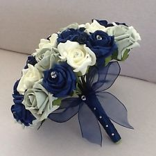 WEDDING FLOWERS ARTIFICIAL IVORY NAVY SILVER FOAM ROSE BRIDES BOUQUET