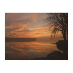 Sunset over eastern Quebec in the fall Wood Canvas
