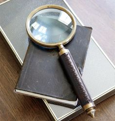 Love this brass and leather magnifying glass