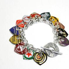 Recycled Jewelry Bottle Cap Charm Bracelet by wearwolf on Etsy, $37,50