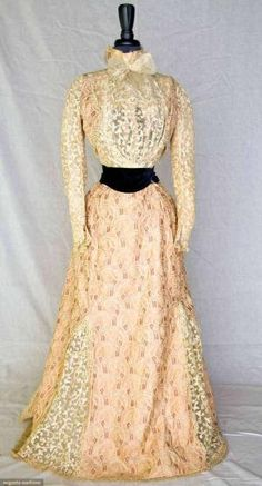 "BELLE EPOCH TEA GOWN, PARIS, 1900-1905 2-piece, Milanese bobbin lace bodice w/ rose print trim, rose print trained skirt w/ godet inserts of Milanese lace, graceful paisley print silk foulard in shades of rose w/ blue & cream, printed elements outlined in appliqued cream tape & cord, black velvet waist sash, embroidered lace neck bow, label, ""Louise Kornmann 217 Rue St. Honore Paris"" by oldrose"