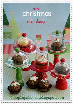 Mini Christmas Cake Stands, pic tutorial...these are so cute and easy to make, definitely for next year! This wud be great.throughout the year...kids party, teacher's gifts, office gifts. Just change up the paint designs!