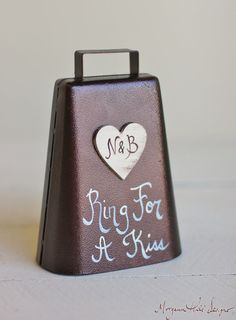 Ring For A Kiss Wedding Bell Personalized Rustic Chic Decor (Item Number 140320) NEW ITEM on Etsy, $26.50