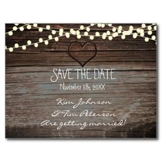 Rustic Heart Wood Wedding Postcard Save The Date. Matching items in my store. Contact me for a custom order or custom coloring.