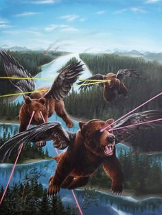 It's a bird!  It's a plane!  No wait, it's just some bears with wings shooting lasers from their eyes...casual.