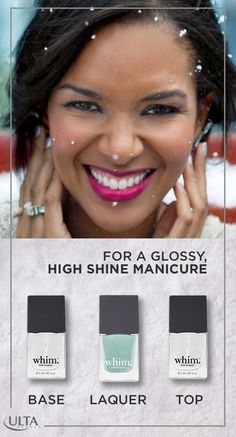 """Make your nails stand out this holiday season with a festive manicure from Whim, exclusively sold at Ulta Beauty. Start out with a beautiful foundation """"The Starter"""" from one of Whim's many nail polish colors. Then, """"The Paint's"""" multi-patented formula creates a long-lasting durable high shine lacquer. Top off your look with """"The Finisher"""" that creates a self-cured, gel-like high shine manicure."""