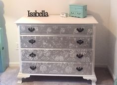 Dark Cherry Wood Dresser I refinished   Paint is flat white ACE hardware platinum Chrome spray paint for the silver