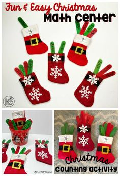 Fun and easy Christmas math activity: Get mini stockings and write math facts on craft sticks. Have students put the math fact in the correct stocking. Christmas Math, Preschool Christmas, Christmas Activities, Christmas Ideas, Counting Activities, Classroom Activities, Activities For Kids, Classroom Ideas, Preschool Ideas