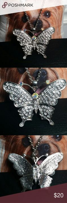 """Large rhinestone butterfly necklace new I have another wild necklace for you. The pendant is 3"""" x 4"""" and the chain is about 27"""". It has a clasp but no extender. Jewelry Necklaces"""