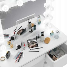 Source Makeup Vanity Dressing Table Dresser Desk with LED Lights and Large Drawer for Bedroom,White on m.alibaba.com Dressing Mirror, Dressing Table, Dressing Room, Cheap Vanity, Bedroom Furniture, Home Furniture, Dresser Desk, Large Drawers, White Texture