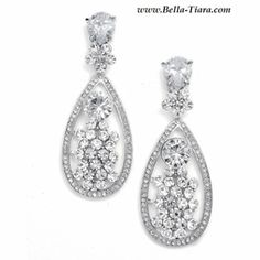 Debra - STUNNING Cubic Zirconia wedding drop earrings - SALE