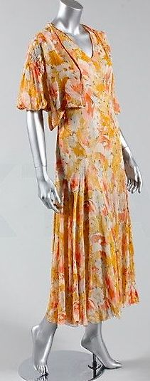 Printed peach chiffon garden party gown with matching bolero, mid-1930's.