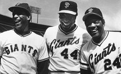 SF Giants Willie Mays with Orlando Cepeda & Willie McCovey  1980