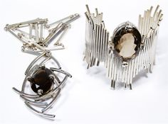 Lot 635: Aaron Rubinstein Sterling Silver and Smokey Topaz Jewelry Assortment; Including necklace and bracelet; signed and marked on back