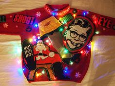 "A Christmas Story themed DIY Light Up Tacky Christmas Sweater. ""Oh fuuuudge!"" that's brilliant. Countdown to Party Town! FBL Ugly Christmas Sweater Challenge is ON..."