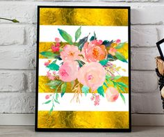 Pink flowers Gold stripes Watercolor Florals Flower Bouquet gold foil Stripes Girls Nursery Printable Wall Art Nursery Decor Watercolor…