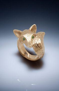 FURRED fox ring bronze with green garnet eyes or by Michaeltatom