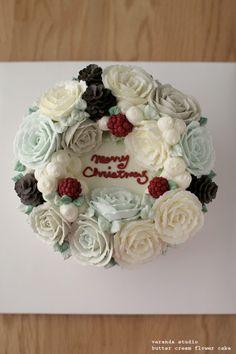VERANDA STUDIO MERRY CHRISTMAS! Butter cream flower cake~