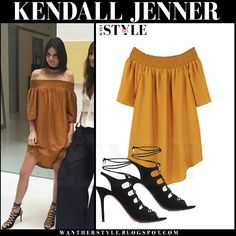 Kendall Jenner in mustard off shoulder mini dress and black lace up sandals