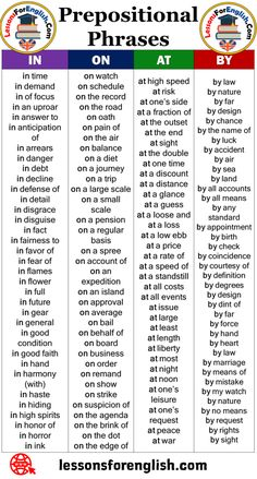 Prepositional Phrases List and Examples In On At By Prepositional Phrases BY by law by nature by far by design bychance bythe name of byluck byaccident byair bysea byland byall accounts byall means byany standard byappointment bybirth bycheck bycoincidence bycourtesy of bydefinition bydegrees bydesign bydint of byfar byforce byhand byheart bylaw bymarriage bymeans of bymistake bymy watch bynature byno means byrequest byrights bysight  Prepositional Phrases AT English Grammar Notes, English Grammar Exercises, Teaching English Grammar, English Language Learning, English Vocabulary Words, English Phrases, Learn English Words, Essay Writing Skills, English Writing Skills